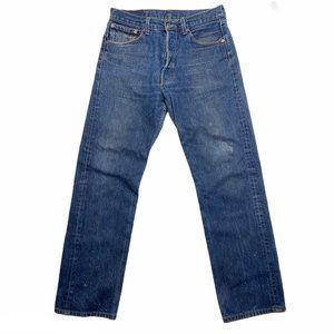 Levis 501 Mens Blue Jeans Straight Leg Button Fly